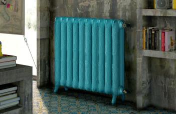 radiateur peint en bleu