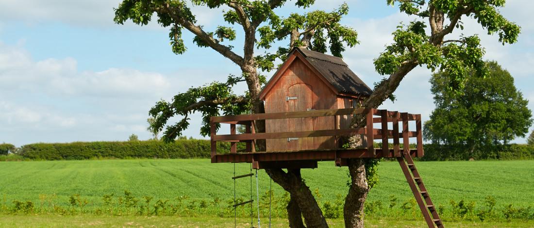 Une cabane dans un arbre à la campagne