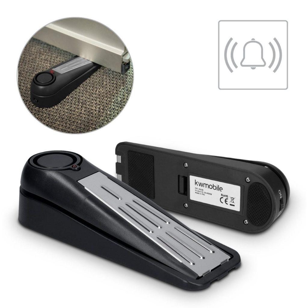 Bloc porte avec serrure anti effraction : Butée de porte à alarme sonore Kwmobile